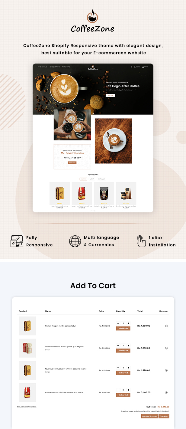 CoffeeZone Multipurpose E-commerce Shopify Template - 2