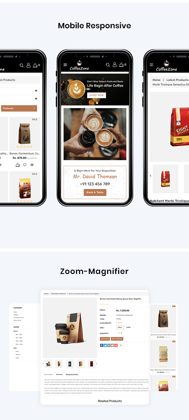 CoffeeZone Multipurpose E-commerce Shopify Template - 3