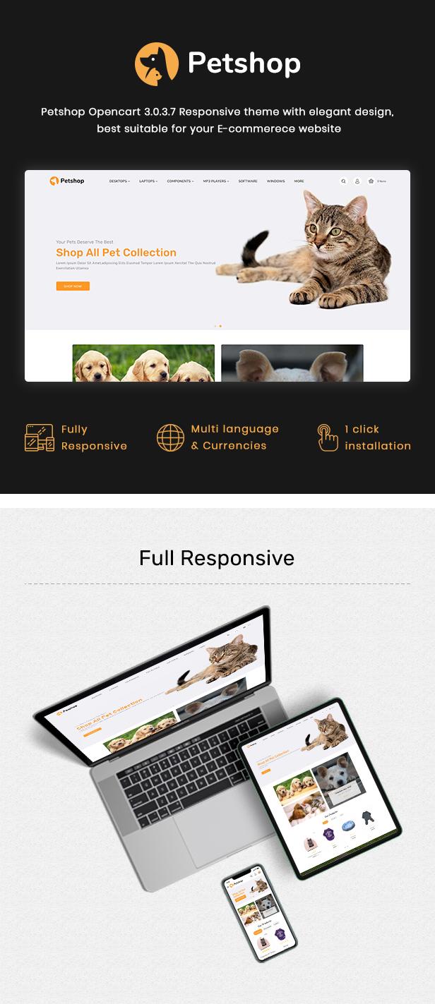 Pestore - Responsive Food Pet Store OpenCart 3 Theme - 2